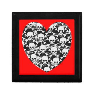 Heart skull with crossbones gift box