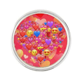 Heart smiley lapel pin