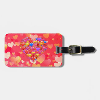 Heart smiley luggage tag