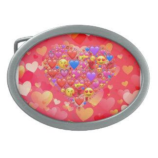 Heart smiley oval belt buckle