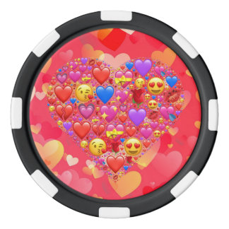 Heart smiley poker chips