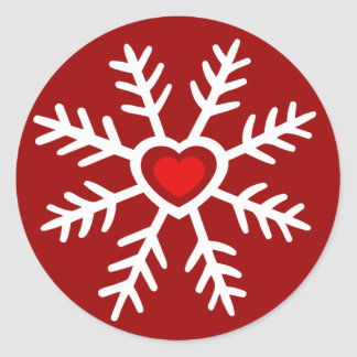 Heart Snowflake Christmas | berry Round Sticker