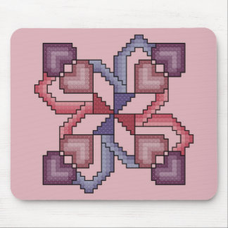 Heart Square Cross Stitch Mousepad