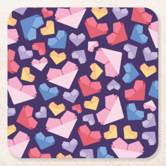 Heart Square Paper Coaster