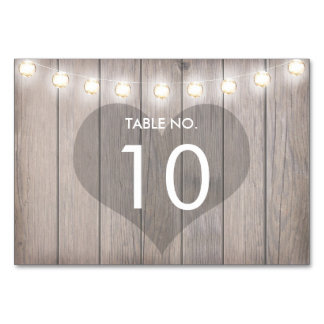 Heart Stained Rustic Table Number Card