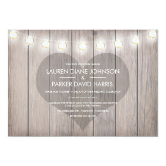 Heart Stained Rustic Wedding Invitation