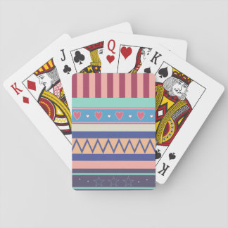 Heart, Star, and Stripe Pattern Playing Cards