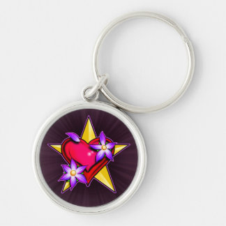 Heart Star Design Silver-Colored Round Key Ring