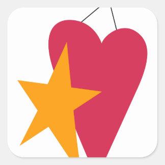 Heart & Star Square Sticker