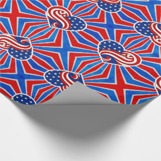 Heart Stars and Stripes in Red White and Blue Wrapping Paper