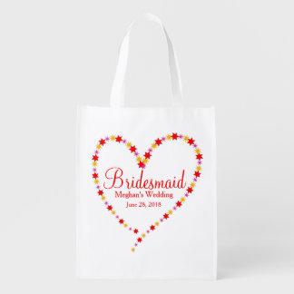 Heart & Stars Bridesmaid Tote Bag Template
