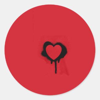 Heart Stencil Classic Round Sticker