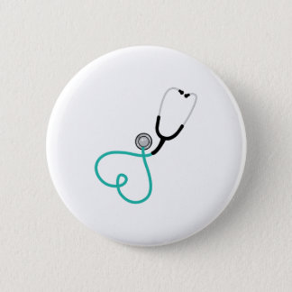 Heart Stethoscope 6 Cm Round Badge