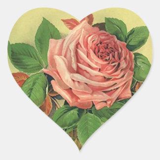 Heart Sticker Stationery Heirloom Garden Rose Pink