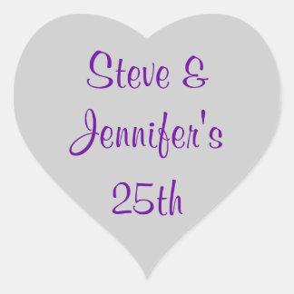 Heart Stickers 25th Wedding Silver Anniversary 25