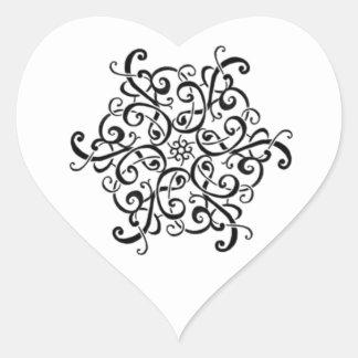 Heart Stickers-Black and White Design Heart Sticker