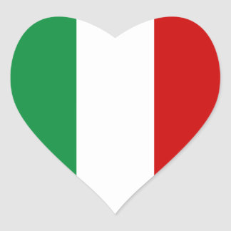 Heart Stickers Flag of Italy Italian il Tricolore