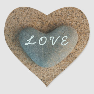 "Heart Stone on Beach with ""LOVE"" in Aqua Heart Sticker"
