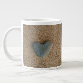 "Heart Stone on Beach with ""XOXOX"" in Beach Orange Large Coffee Mug"