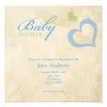 Heart Strings Baby Shower - Blue & Green Personalized Invite