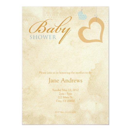 Heart Strings Baby Shower - Orange & Blue 14 Cm X 19 Cm Invitation Card