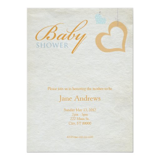 Heart Strings Baby Shower - Orange & Blue 14 Cm X 19 Cm Invitation Card