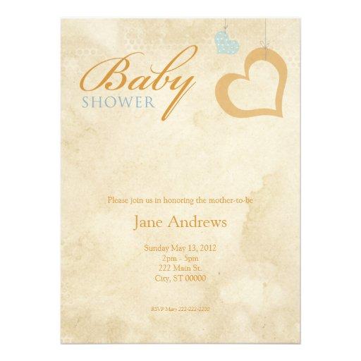 Heart Strings Baby Shower - Orange & Blue Custom Invitations