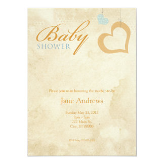 Heart Strings Baby Shower - Orange & Blue 5.5x7.5 Paper Invitation Card