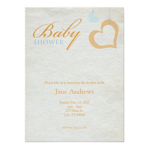 Heart Strings Baby Shower - Orange & Blue Personalized Invites