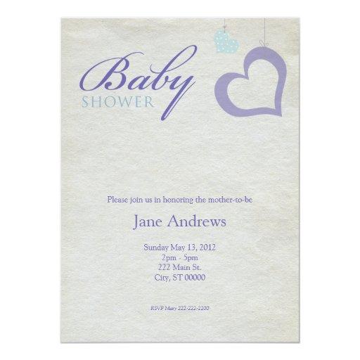 Heart Strings Baby Shower - Purple & Blue 14 Cm X 19 Cm Invitation Card