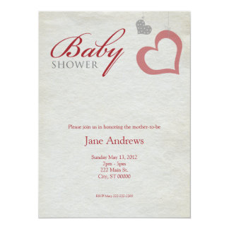 Heart Strings Baby Shower - Red & Black Personalized Announcements