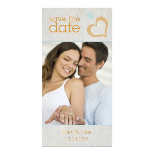 Heart Strings Save The Date - Blue & Orange Photo Card Template
