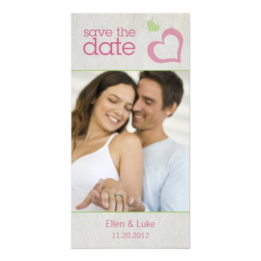 Heart Strings Save The Date - Green & Pink Personalized Photo Card