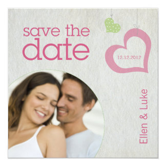 Heart Strings Save The Date - Pink & Green Card