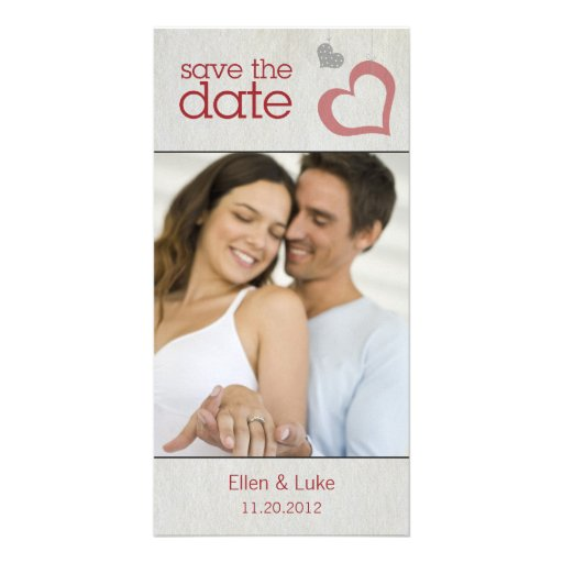 Heart Strings Save The Date - Red & Black Personalized Photo Card