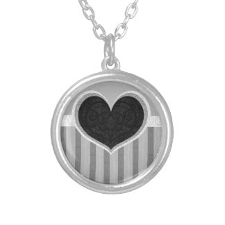 Heart Stripes Round Pendant Necklace