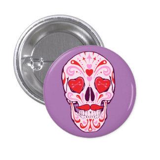 heart sugar skull 3 cm round badge