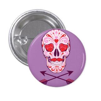 heart sugar skull & arrows 3 cm round badge