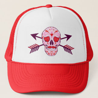 Heart Sugar Skull & Arrows Trucker Hat