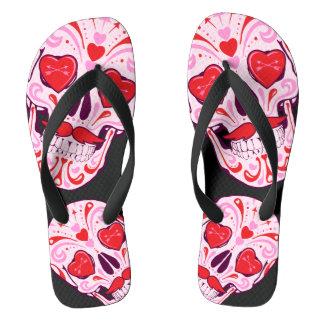Heart Sugar Skull Black Thongs