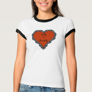 Heart Surrounded by Black Lace and Couples Text Shirt