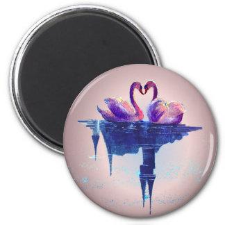 HEART SWANS by SHARON SHARPE Refrigerator Magnet