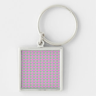 Heart SweetHeart Pink Collection gifts Silver-Colored Square Key Ring