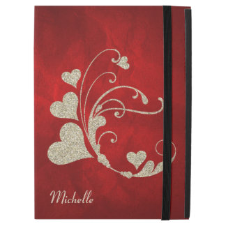 "Heart Swirl Gold Faux Glitter on Red iPad Pro 12.9"" Case"
