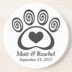 Heart & Swirl Paw Print Stone Coaster Wedding Gift