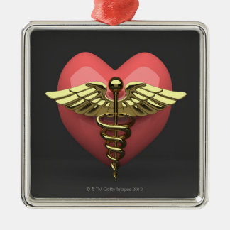 Heart symbol with medical symbol (caduceus) metal ornament