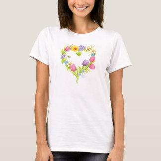Heart T-shirt Watercolor Flower Wreath