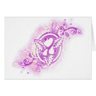 Heart Tattoo with Flowers (purple) Card