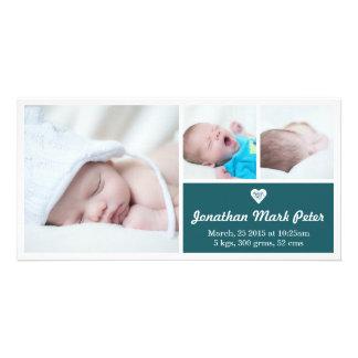 Heart Teal Birth Announcement Photo Card