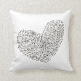 Heart text design in thumbprint seal cushion